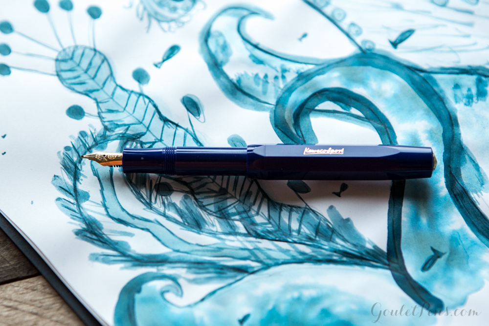 Kaweco Classic Sport Blue Medium with Graf von Faber-Castell Deep Sea Green Cartridges: Monday Matchup #83
