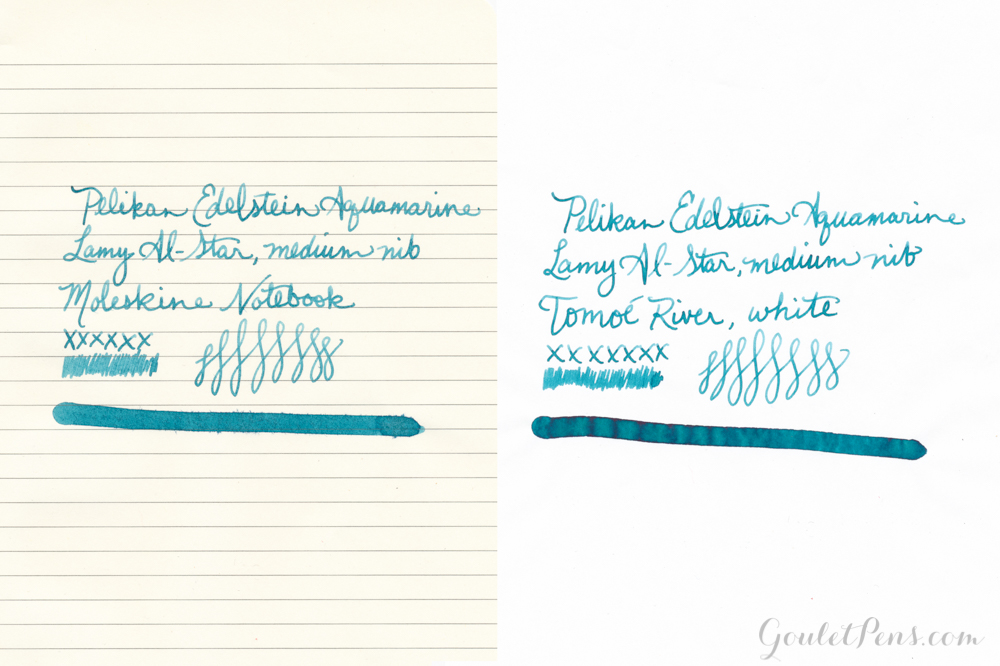 Pelikan Edelstein Aquamarine fountain pen ink review, written with a Lamy Al-Star on Tomoe River and Moleskine paper.