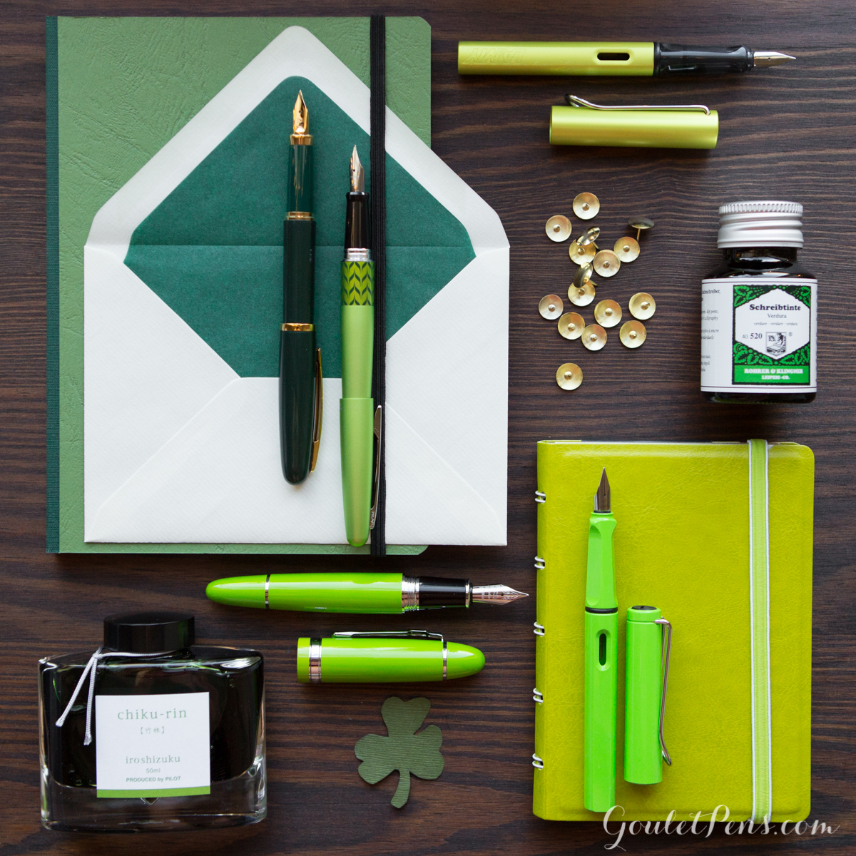 St. Patrick's day green fountain pens, notebooks, ink