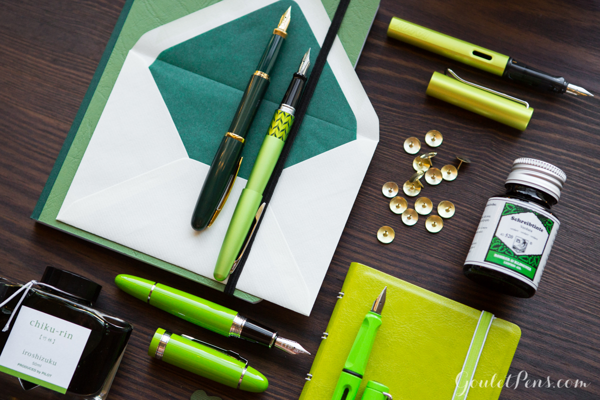 St. Patrick's Day green fountain pens, ink, and notebooks