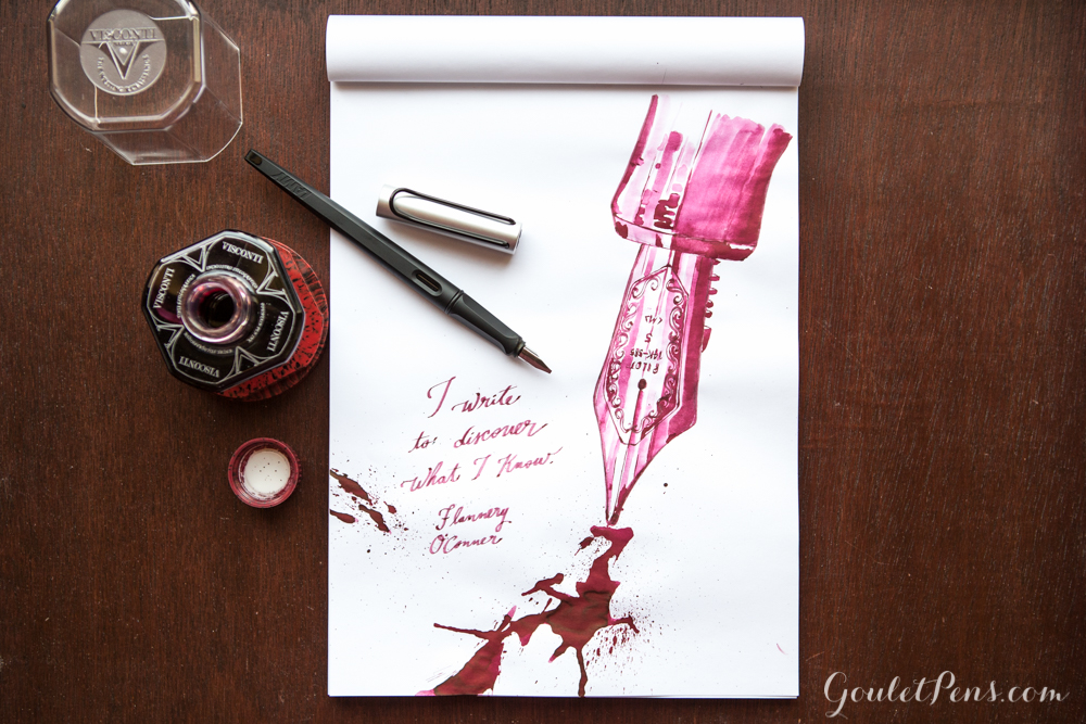 Fountain pen illustration with Visconti Bordeaux ink using a Lamy Joy 1.9 Stub