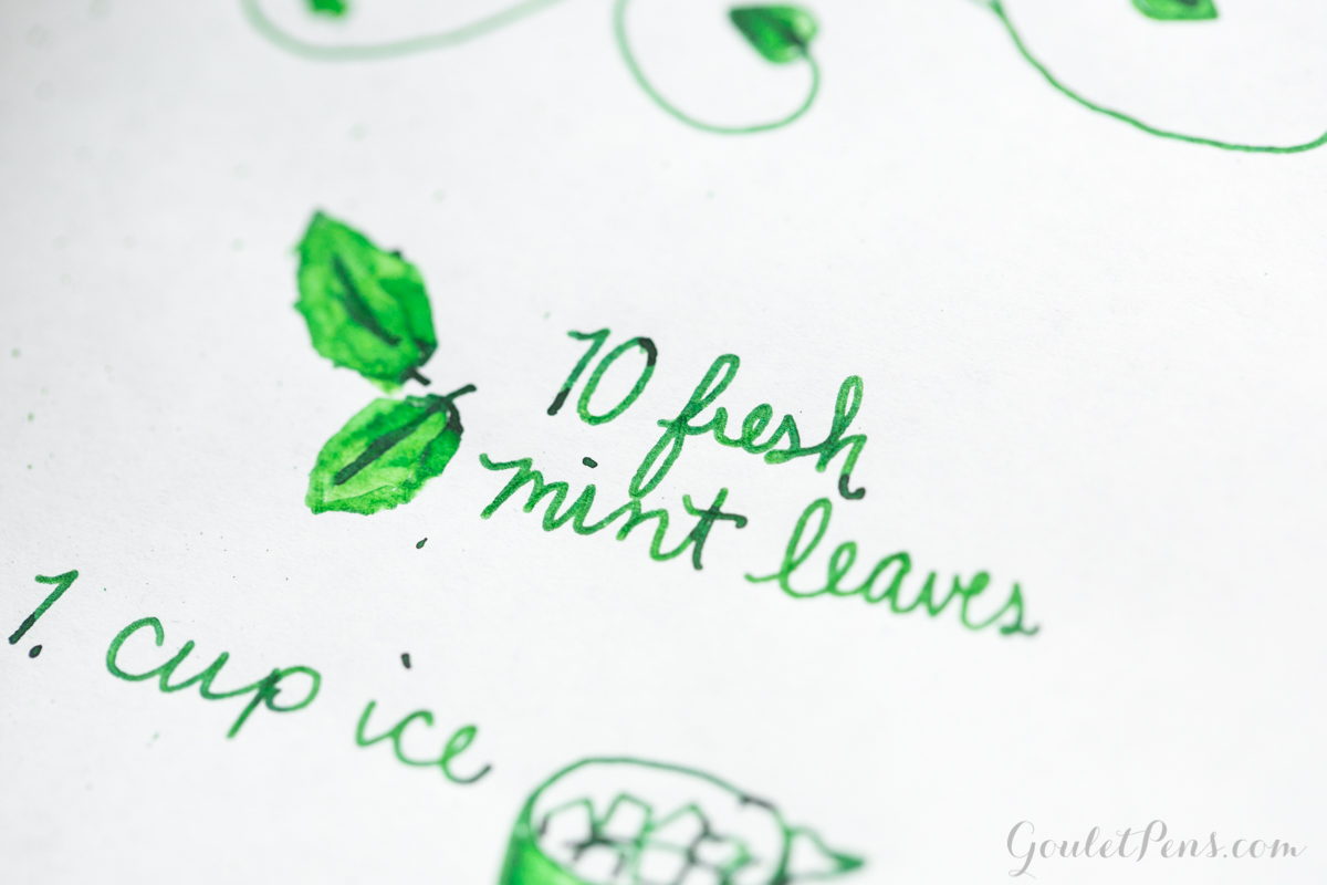 Drawing of Mojito recipe using a Kaweco Skyline Sport fountain pen and Private Reserve Spearmint ink.