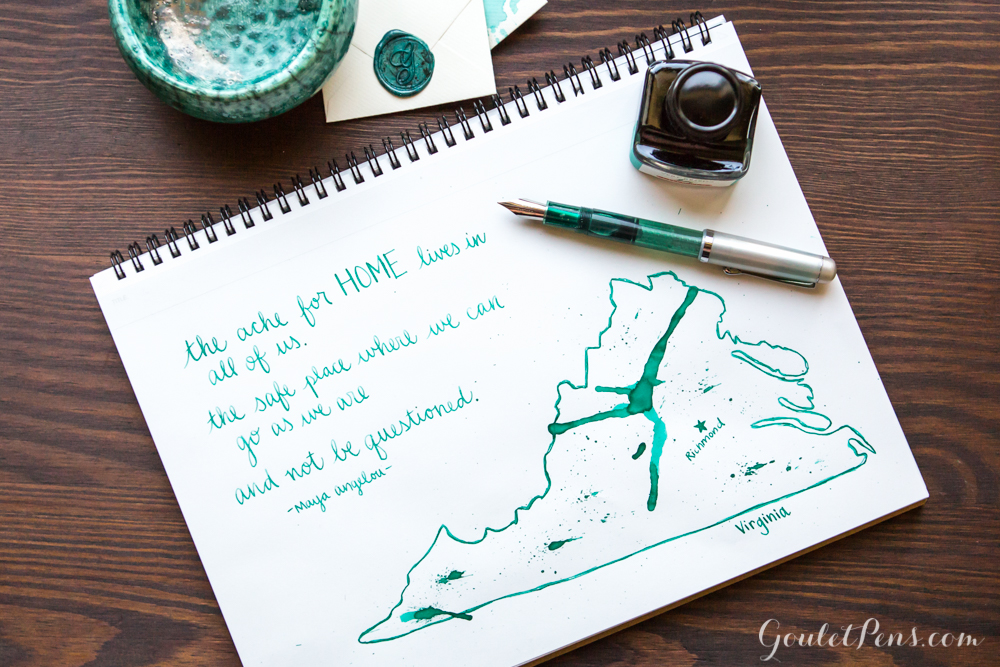 Decorative illustration of Virginia using a Noodler's flex fountain pen and a cool, minty turquoise fountain pen ink/