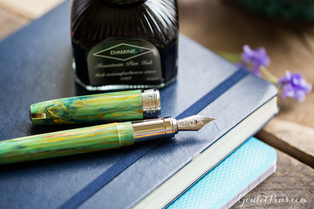 Visconti Van Gogh Iris with Diamine Soft Mint Colorful, pastel, spring themed fountain pens with matching ink.