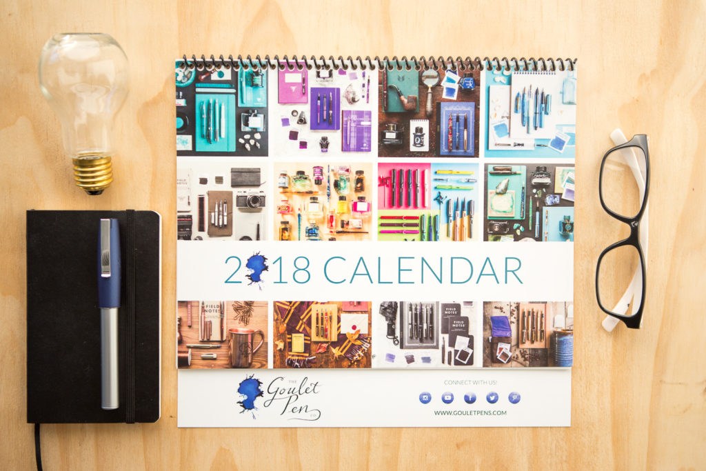 2018 monthly calendar featuring flat lay spreads of fountain pens, notebooks, and ink.