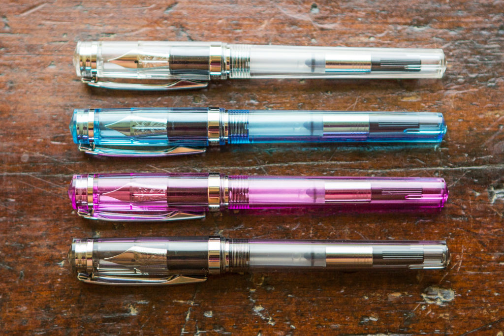 Nemosine Demonstrator Package Set with four different transparent fountain pens.