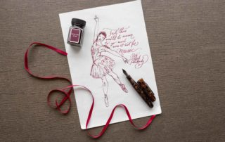 Illustration of a Nutcracker ballerina drawn with Monteverde Mercury Noir ink and a Conklin All American Brownstone fountain pen