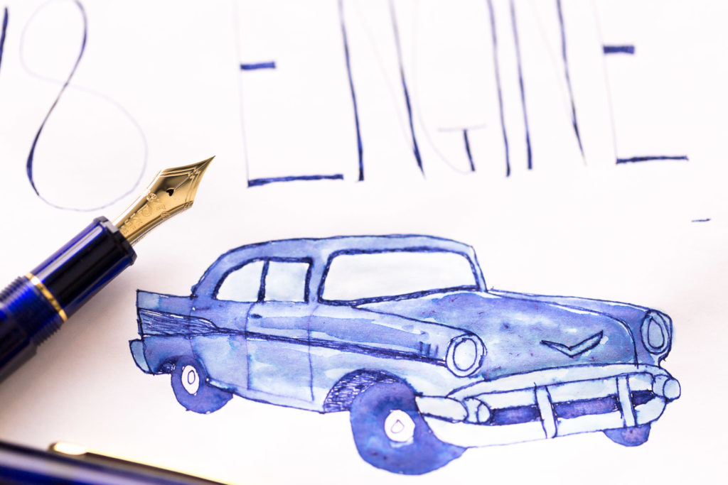 Elvis-themed illustration featuring a car drawn with Diamine Tudor Blue ink and a Platinum 3776 Chartres Blue fountain pen.