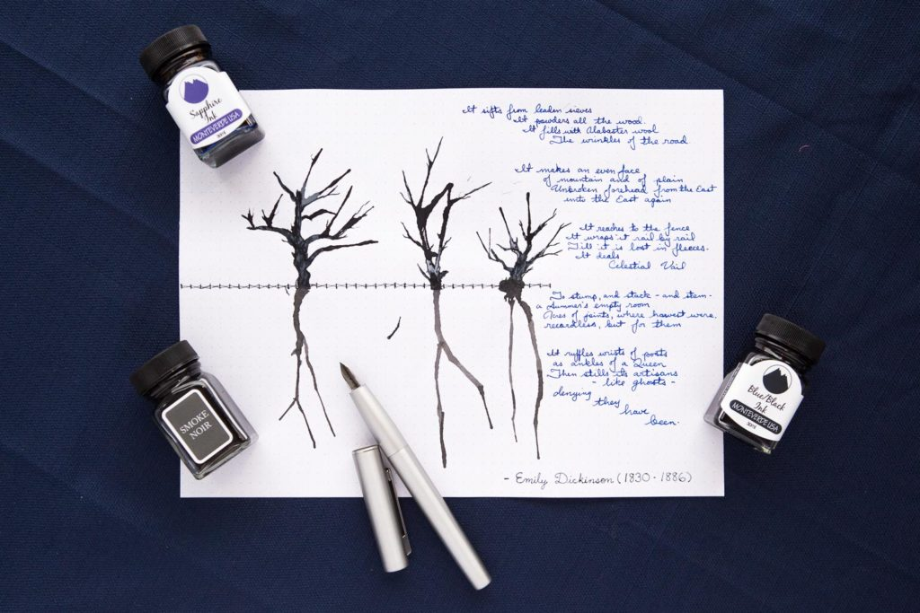 An illustration of three small trees drawn with Monteverde Onyx ink and a Lamy Aion fountain pen