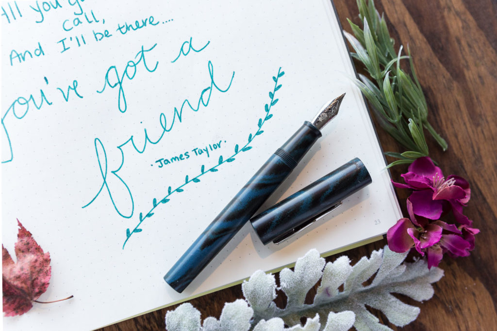 A quote by James Taylor written with a Conklin Classic Rainfall fountain pen and Robert Oster Morning Mist ink.