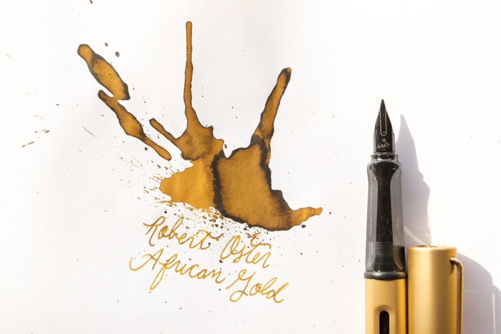 Illustration of two bees in a honeycomb featuring lyrics by Barry Louis Polisar drawn with Robert Oster African Gold and a Lamy LX Gold fountain pen