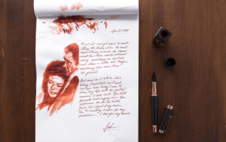 An ode to Johnny Cash and June Carter for Johnny Cash's birthday, using Diamine Ancient Copper ink, a Monteverde Invincia Rose gold fountain pen, and a Caran d'Ache water brush.