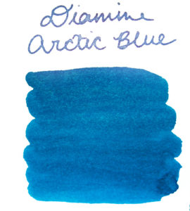 Swab of Diamine Arctic Blue ink