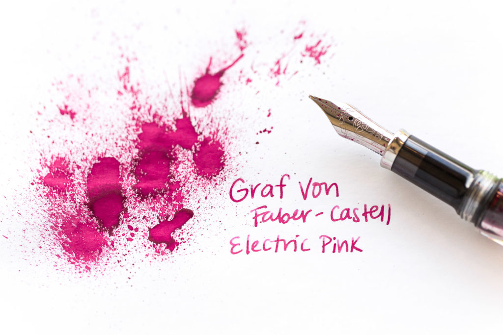 A spring greeting with flowers drawn with a TWSBI VAC700R fountain pen and Graf Von Faber Castell Electric Pink ink