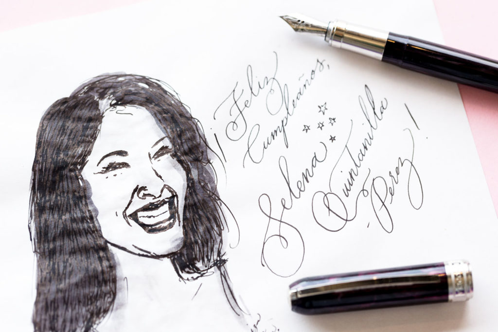 An illustration of Selena Quintanilla-Perez with lyrics made with a Visconti Rembrandt fountain pen and Visconti Black ink