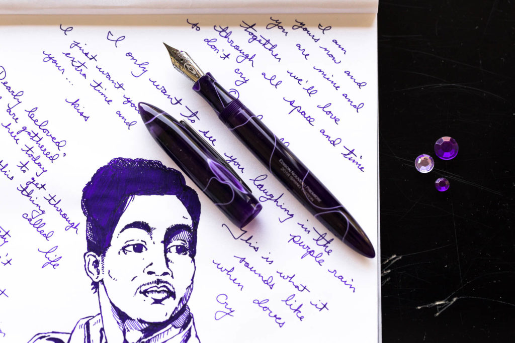 An illustration of Prince with lyrics made with an Edison Nouveau Premiere Purple Reign fountain pen and Rohrer and Klingner Cassia ink