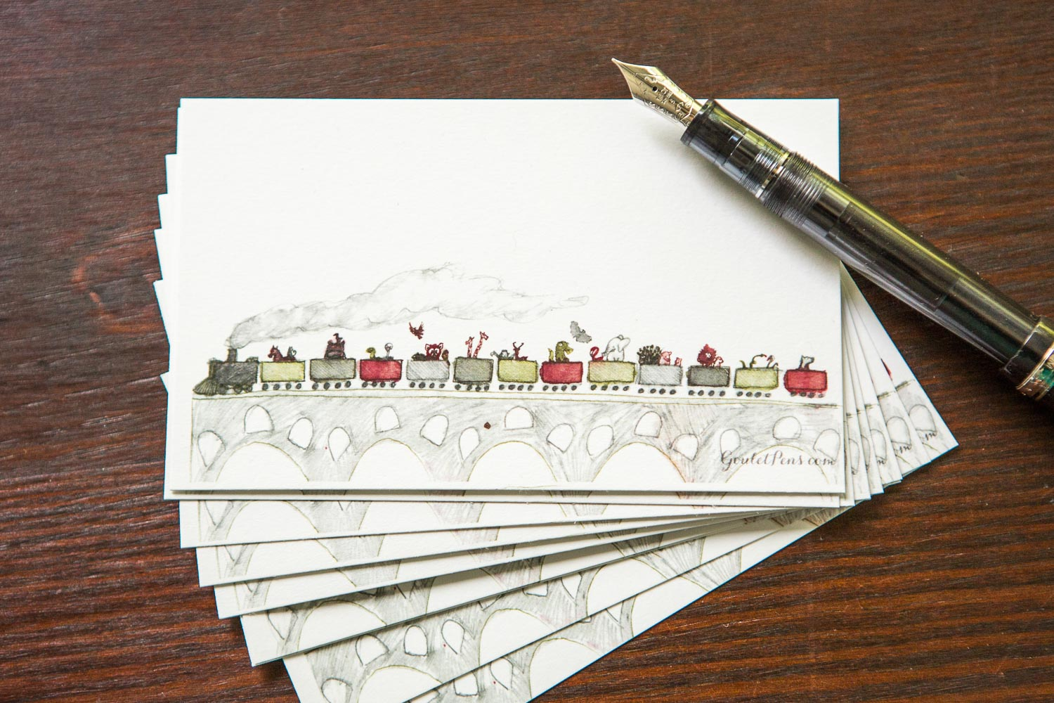 Goulet Note Cards - Animal Train