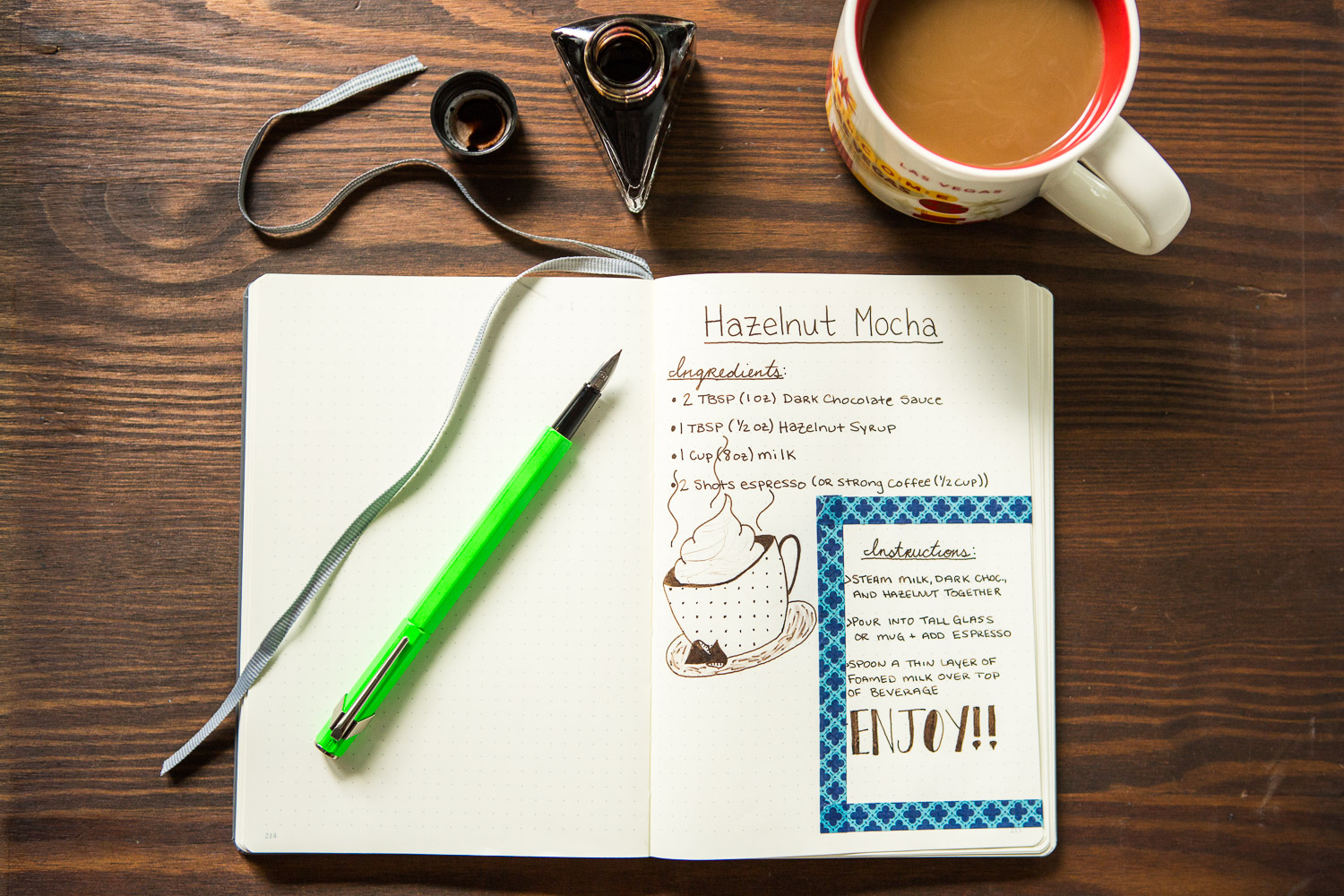 Hazelnut Mocha recipe drawn with a Caran d'Ache 849 Green Fluo fountain pen and Diamine Espresso ink.
