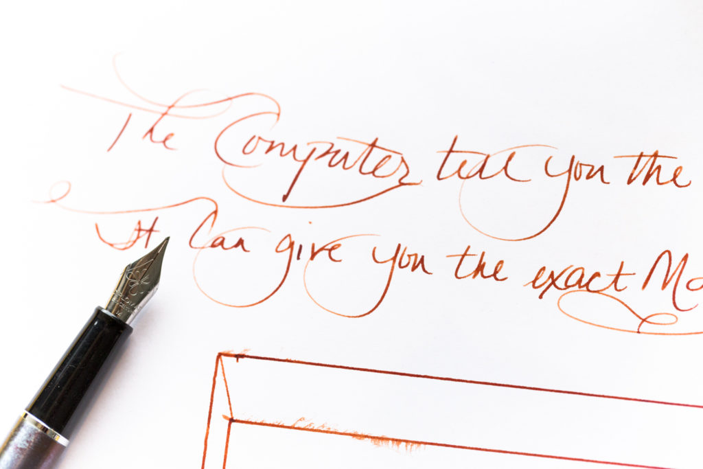 A quote about computers but Frank Zappa written with a Diplomat Traveller fountain pen and Monteverde Copper Noir ink.