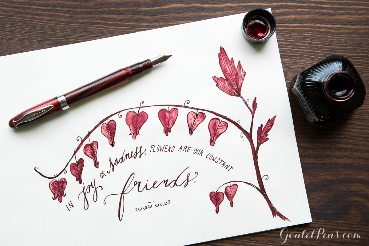 Bleeding heart flower illustration drawn with a Noodler's Ahab fountain pen and burgundy Diamine Oxblood ink.