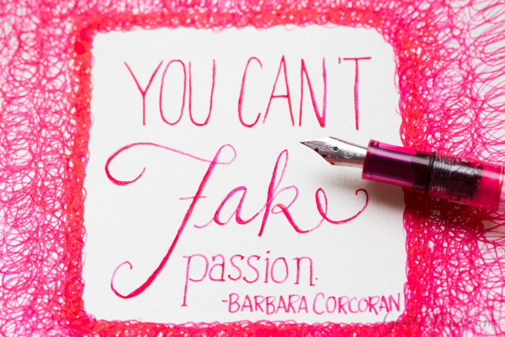 Hot pink pen and ink illustration of a Barbara Corcoran quote, done with a Kaweco fountain pen and Platinum Cyclaman Pink ink.