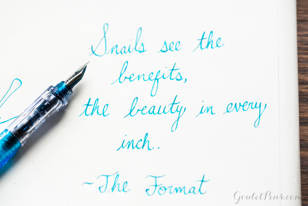 Illustration of a snail drawn with a Light Blue Pilot Plumix fountain pen and Turquoise Visconti fountain pen ink.