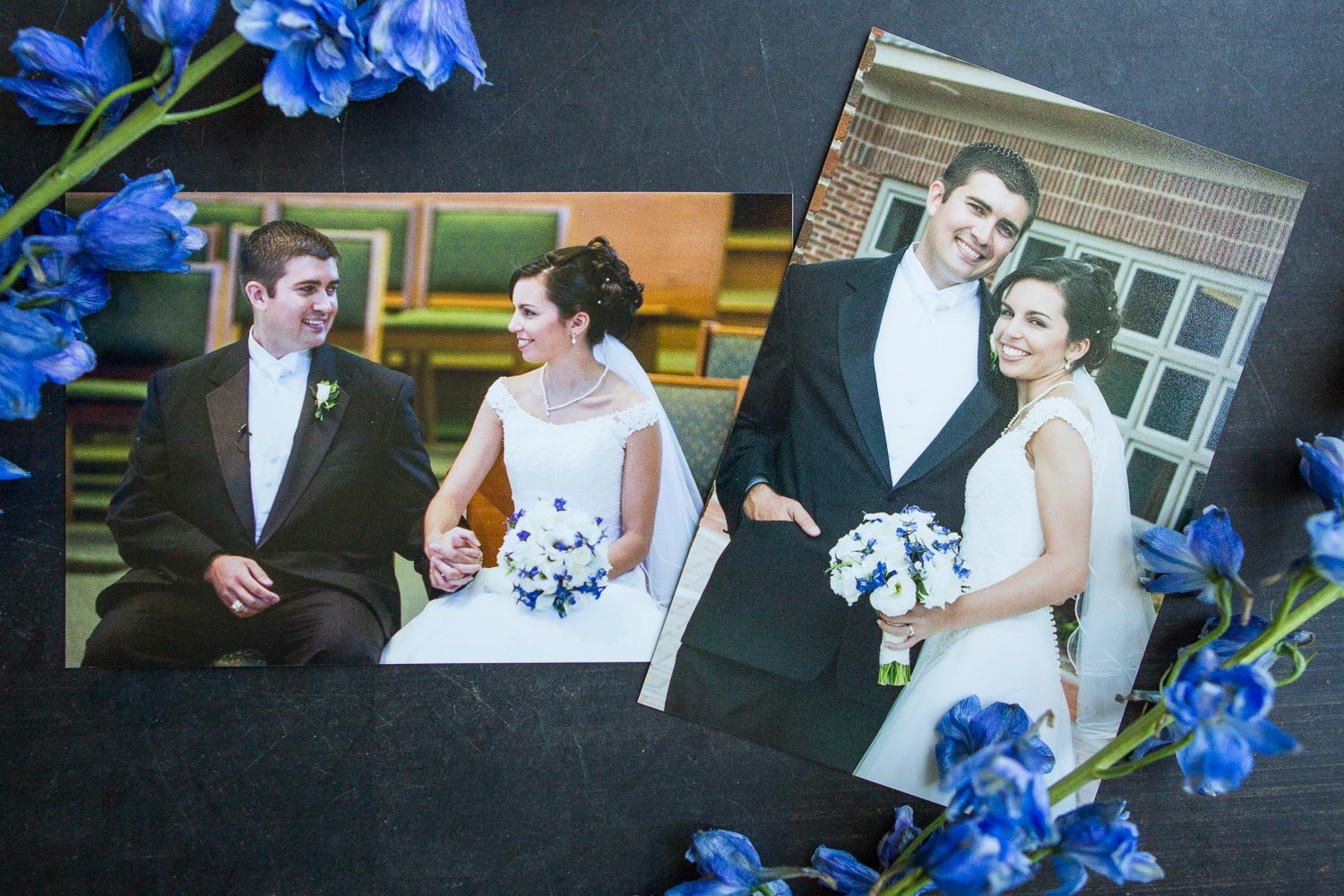 Brian and Rachel Goulet's wedding photos, featuring blue delphinium.