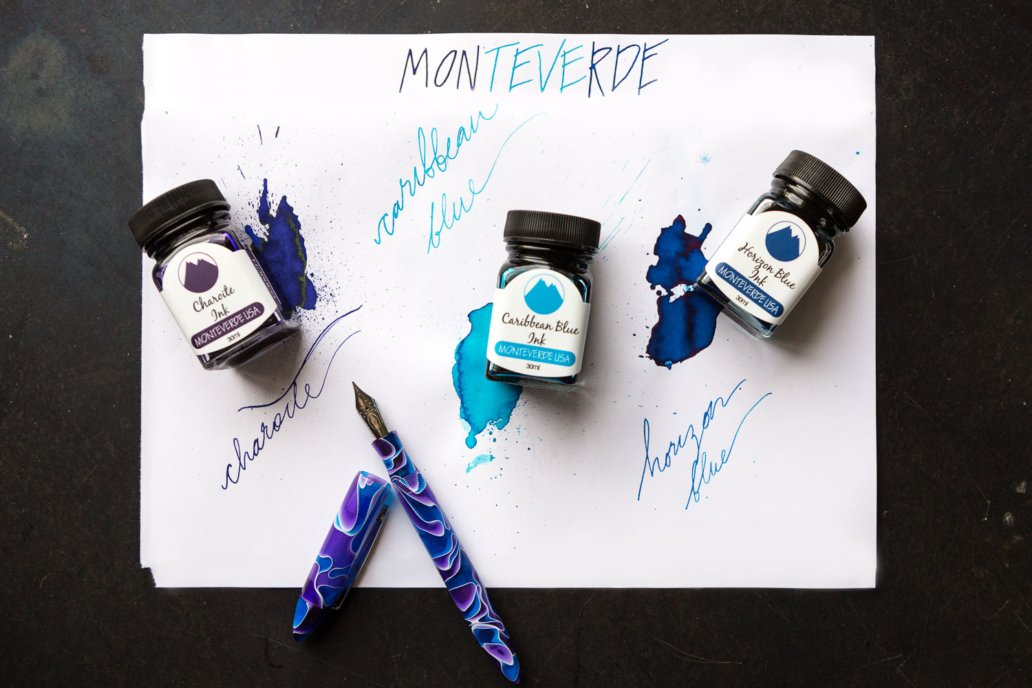 Monteverde Ink Set - Summer 2017, featuring Charoite, Horizon Blue, and Caribbean Blue.