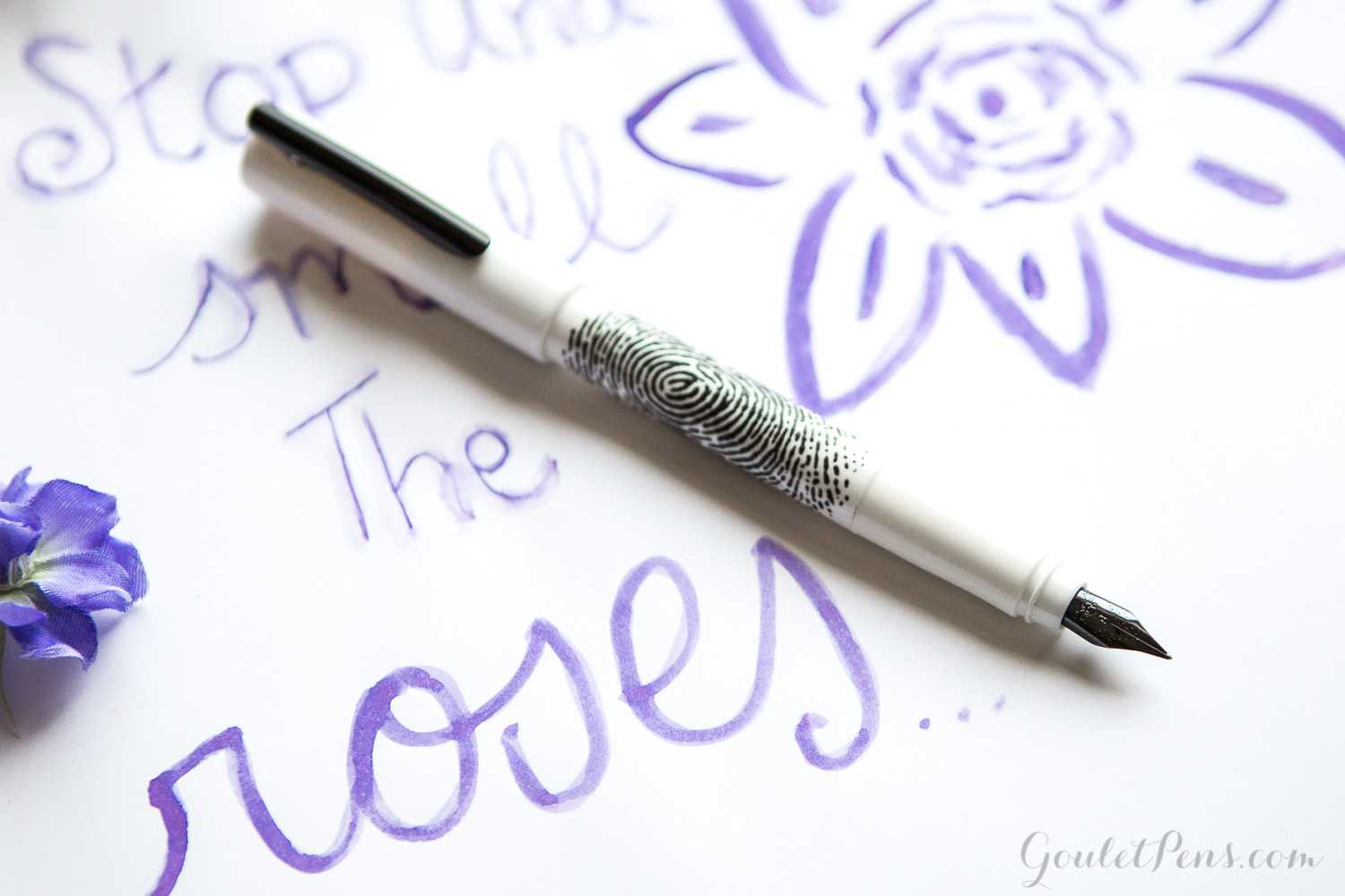 Purple flower drawing, illustrated with a Faber-Castell WritInk White fountain pen and Graf von Faber-Castell Violet Blue ink.