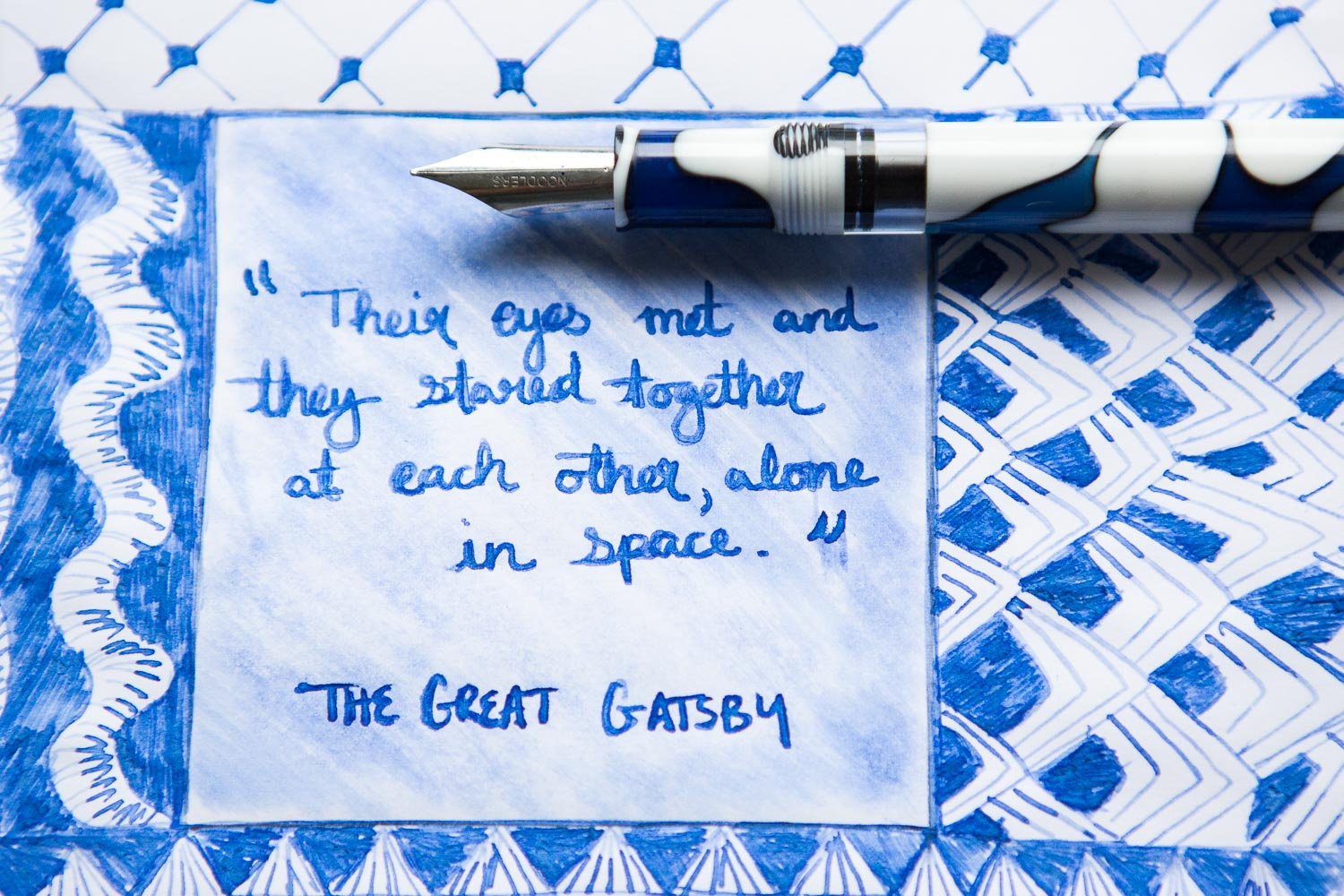 Great Gatsby inspired illustration drawn with a Noodler's Konrad Wendigo fountain pen with Stipula Deep Blue ink.