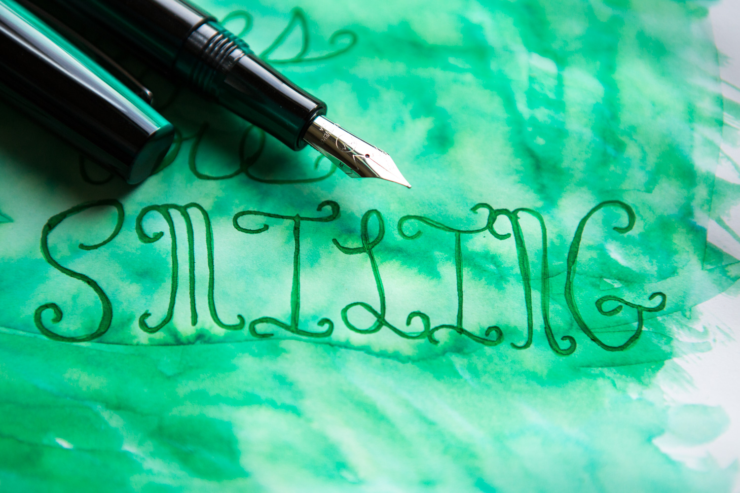 An illustration of an Irish shamrock drawn with a Monteverde Giant Sequoia Green fountain pen and Monteverde Erinite fountain pen ink.