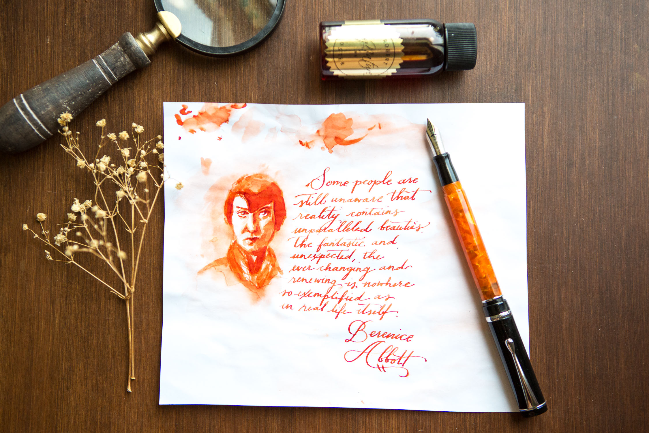 Illustration of female photographer, Bernice Abbott, drawn with a Conklin Duragraph Orange Nights and Robert Oster Orange Zest.