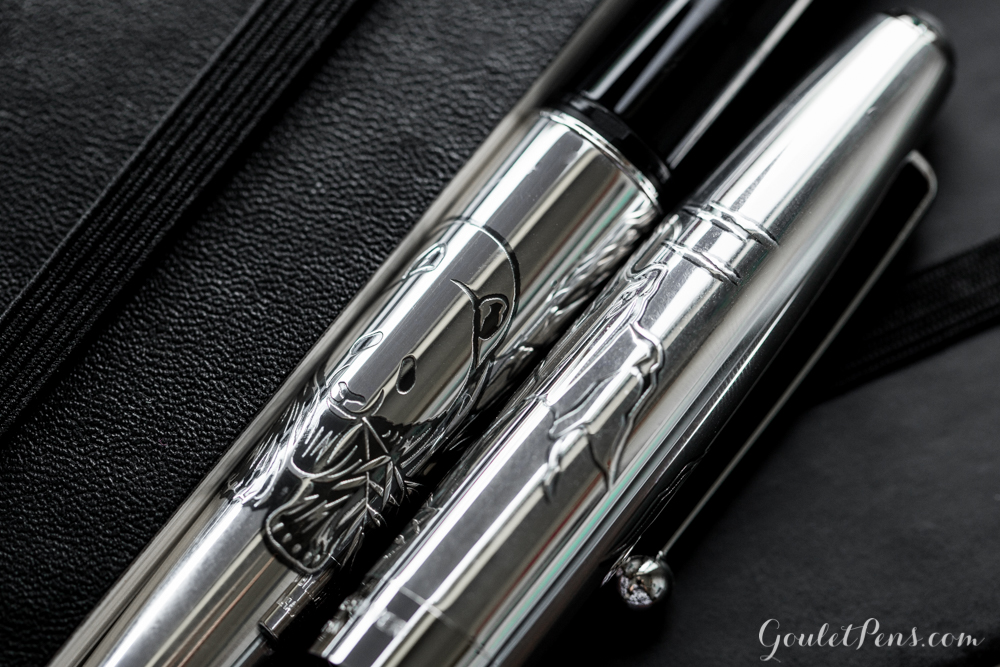 close up of panda design on the Pilot Sterling collection pens