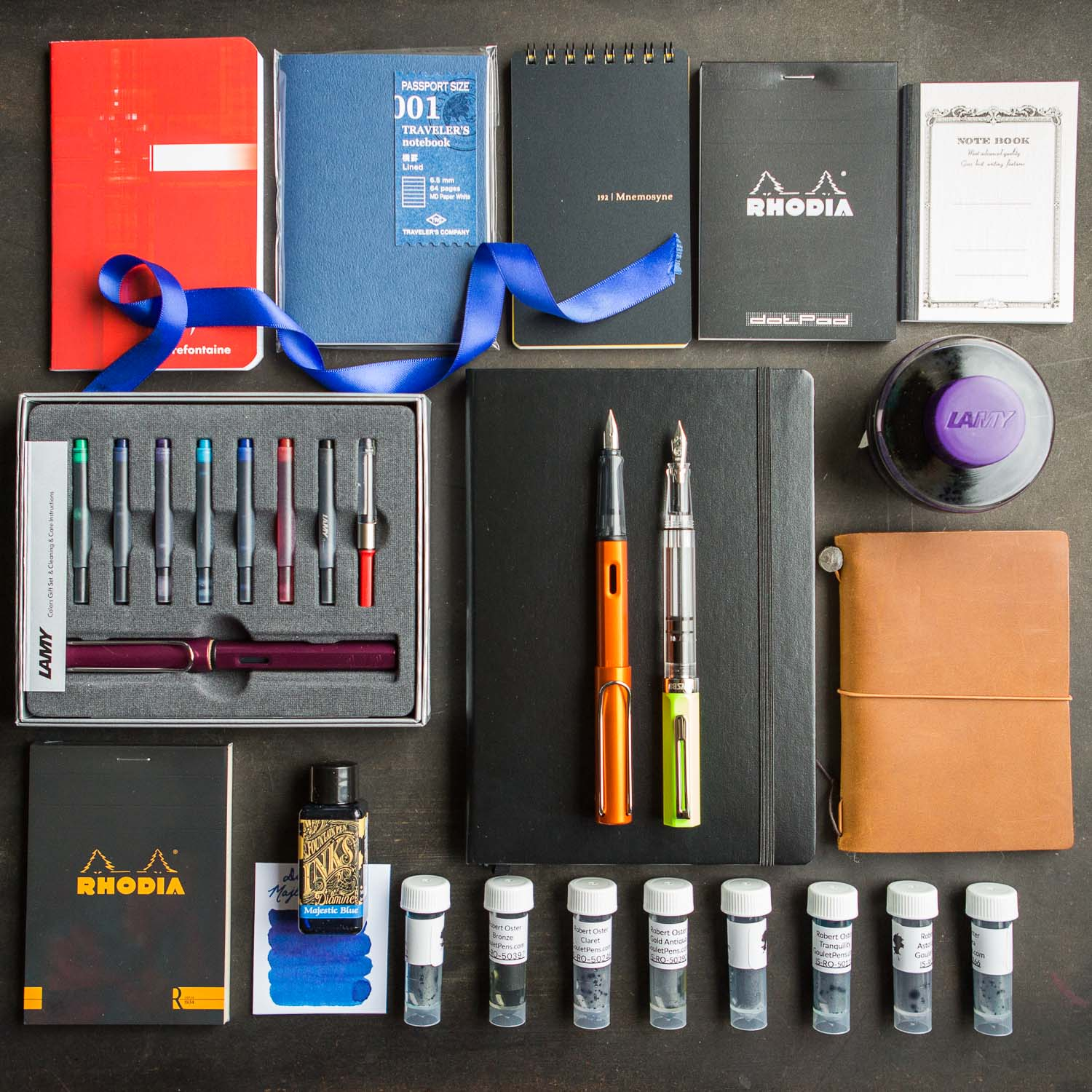 Flat lay giveaway hosted by Goulet Pens for fountain pens, notebooks, ink.