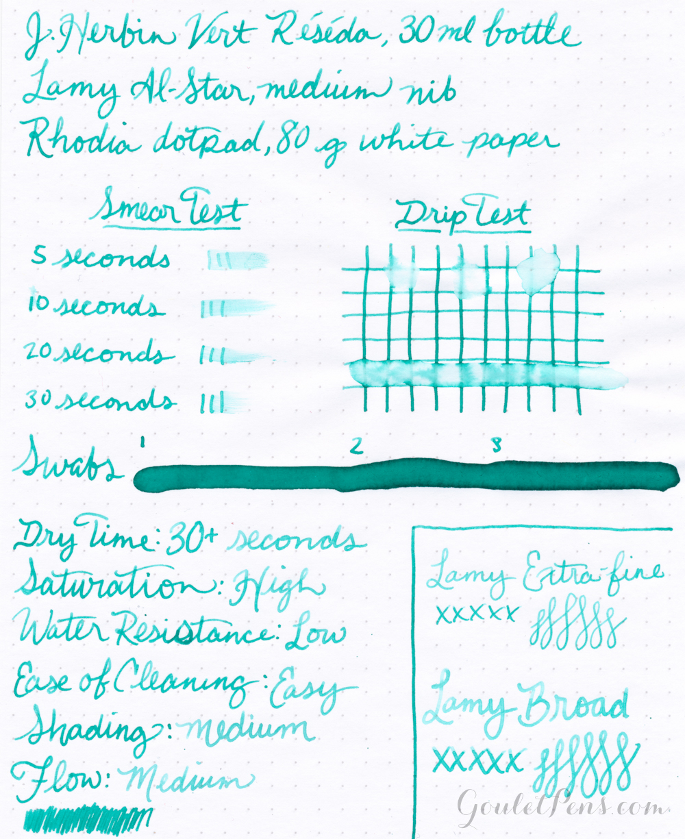 Handwritten ink review of J. Herbin Vert Réséda including dry time, drip test, and swabs.
