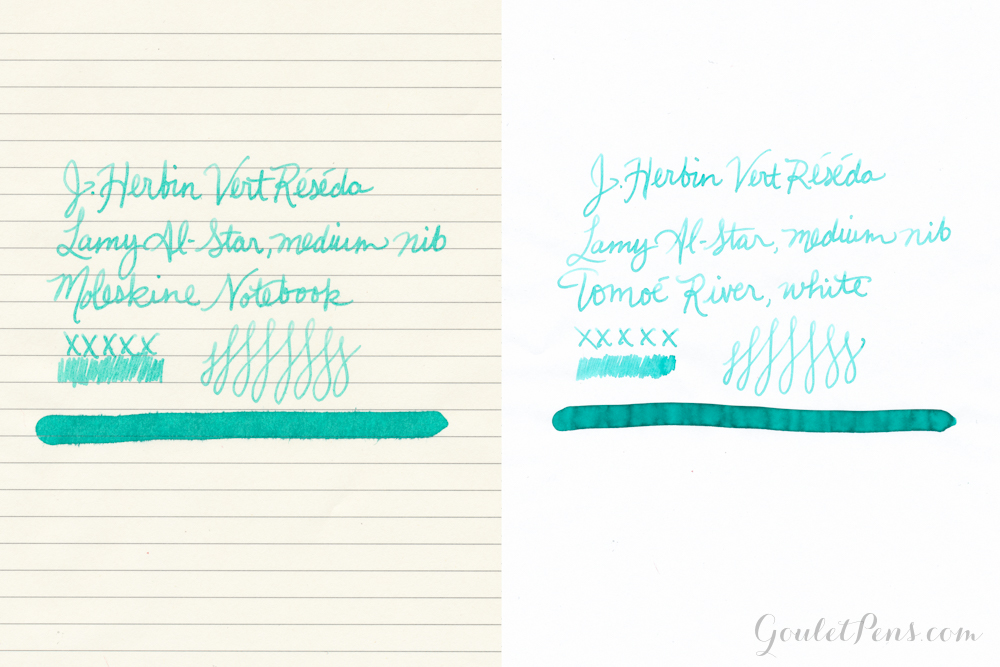 J. Herbin Vert Réséda ink written on Moleskine paper and Tomoé River Paper demonstrating their differences.