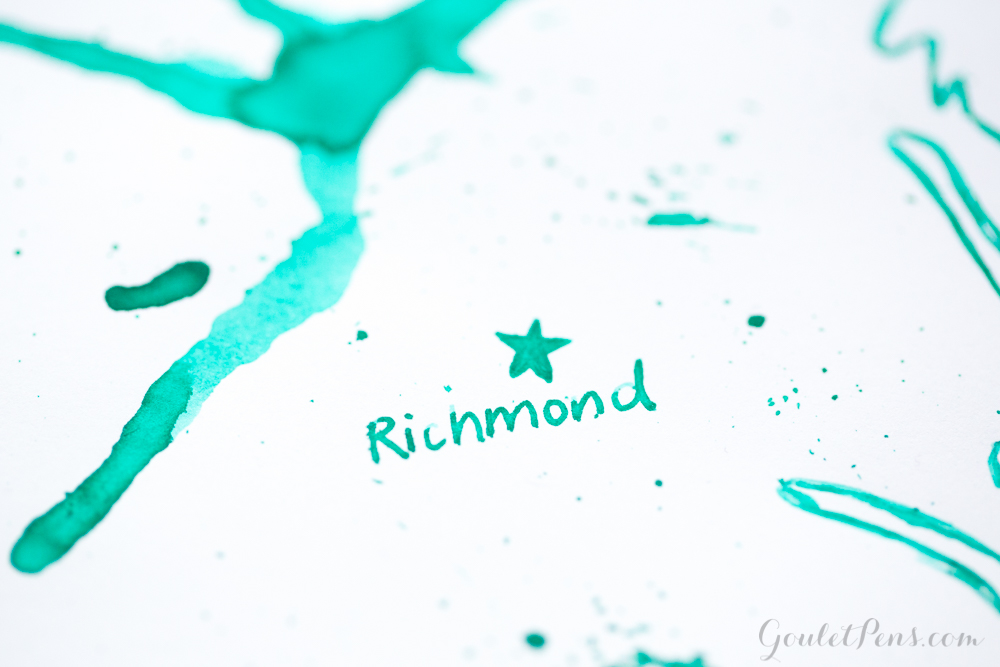 J. Herbin Vert Réséda ink splatter and artistic depiction of Richmond, VA.