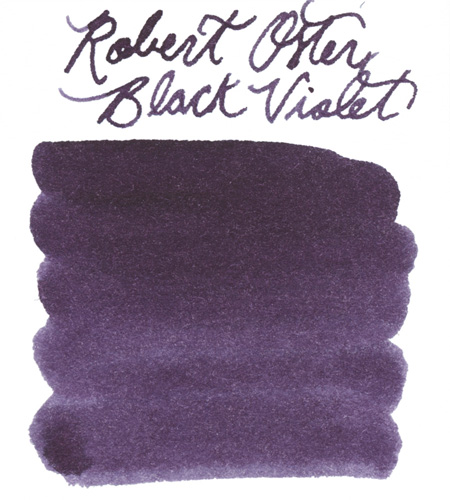 Swab of Robert Oster Black Violet Fountain Pen Ink