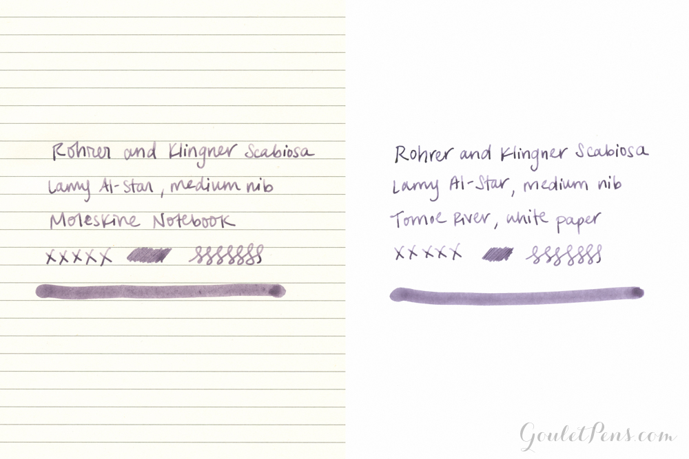 Rohrer and Klingner Scabiosa purple fountain pen ink
