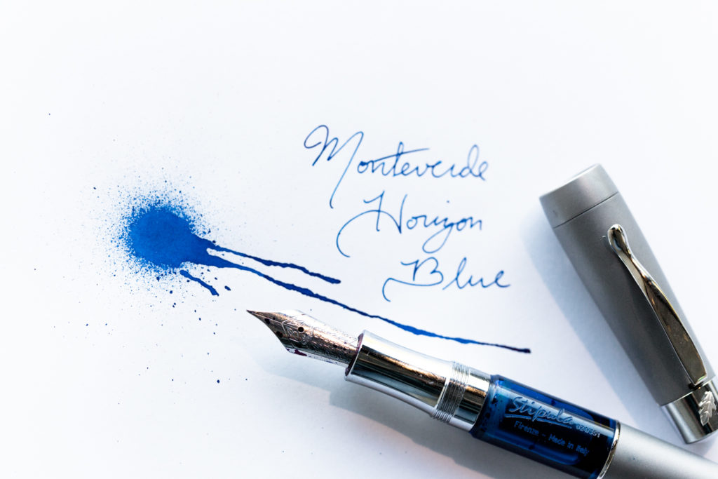 An Edgar Allan Poe-themed illustration and quote made using a Stipula Tocco Ferro Blue fountain pen and Monteverde Horizon Blue ink.
