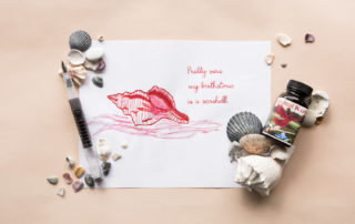 A conch-themed illustration and quote drawn using a TWSB GO Black fountain pen and Noodler's Cardinal Kestrel ink