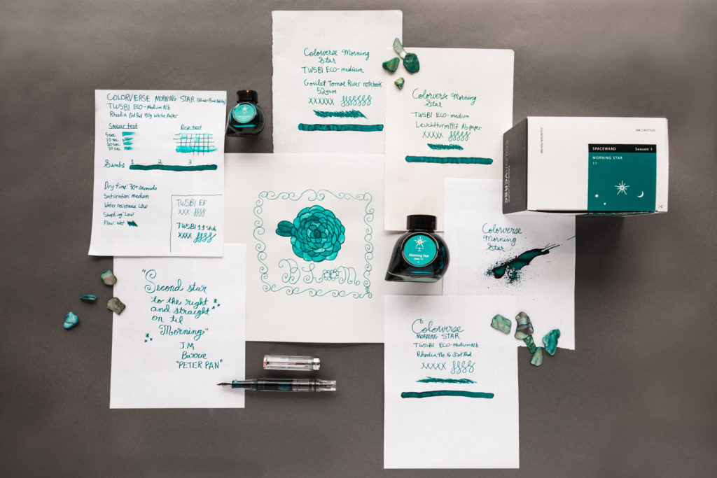 Suite of drawings, ink tests, and write samples showcasing Colorverse Morning Star ink.