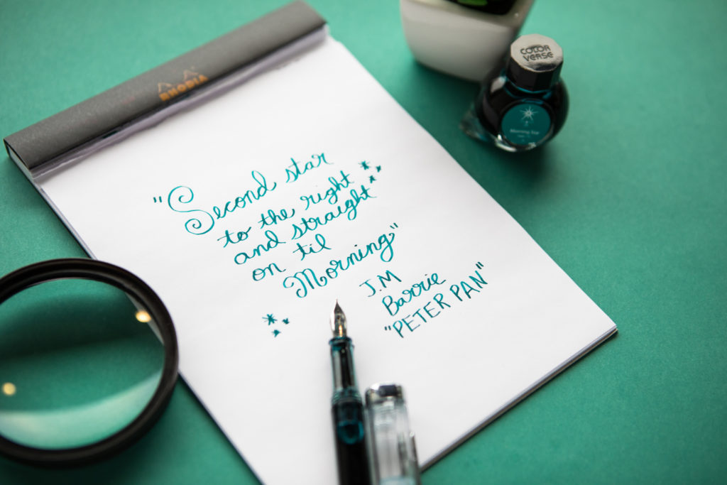 A quote from Peter Pan made using Colorverse Morning Star ink and a TWSBI ECO fountain pen.