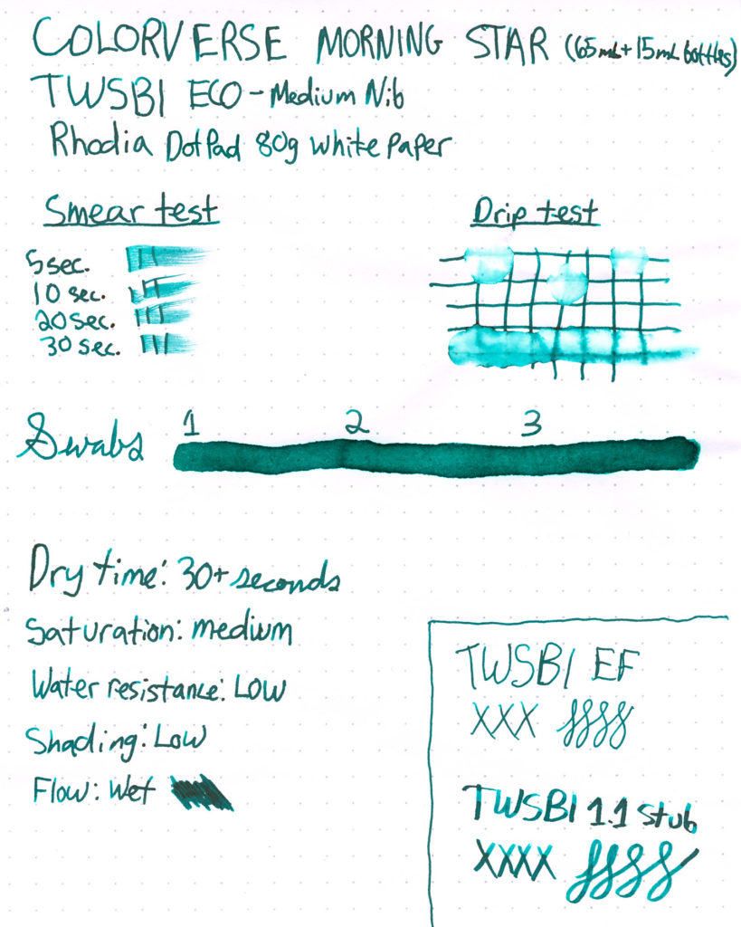 A scanned Ink Test sheet for Colorverse Morning Star Ink Review