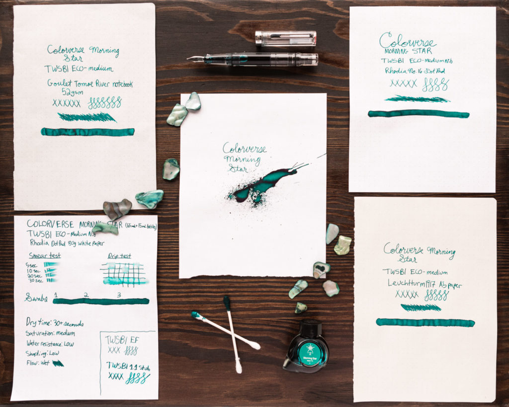 An overhead view of Ink Review components for Colorverse Morning Star fountain pen ink.