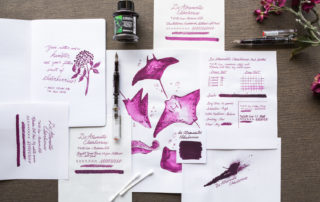 A Goulet Inksploration featuring De Atramentis Elderberries fountain pen ink.