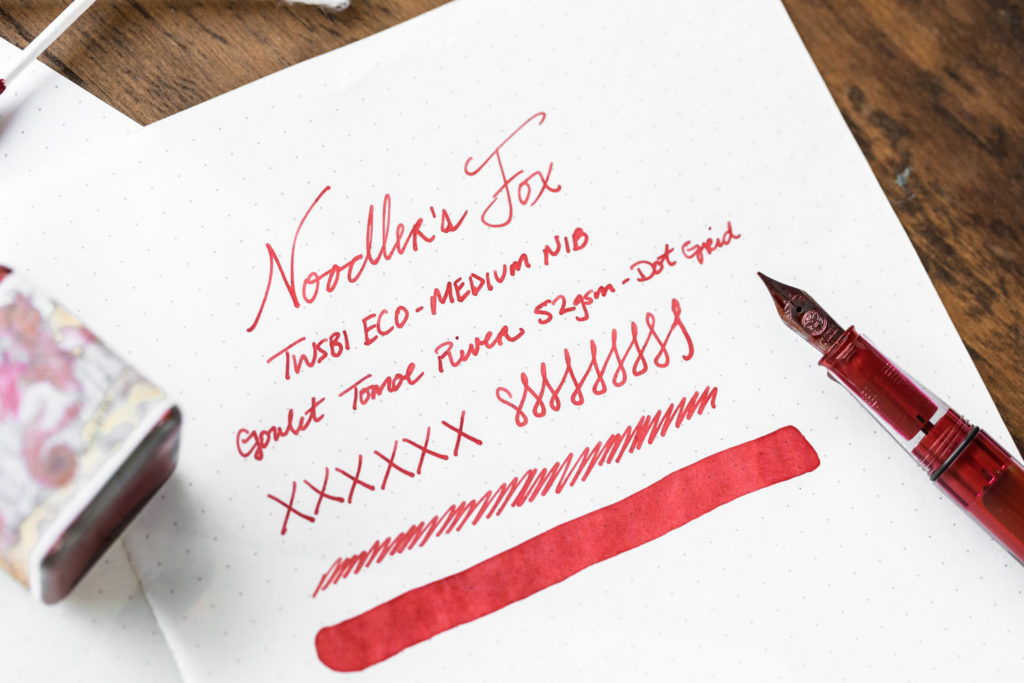 A Goulet Inksploration featuring Noodler's Fox fountain pen ink.