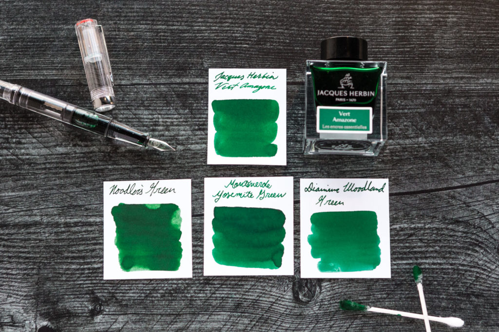 Jacques Herbin Vert Amazone compared to similar inks