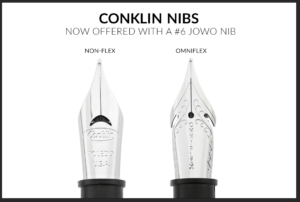 Comparison image of the Conklin non-flex and OmniFlex nibs
