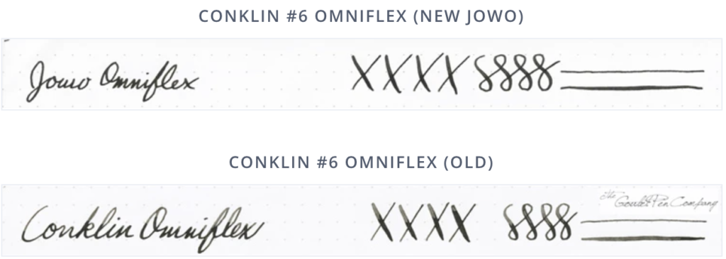 Writing sample of Conklin old flex vs new
